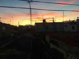 Cuba Sunset over houses