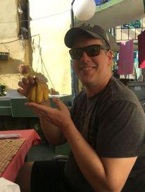 big man with little bananas. hahah