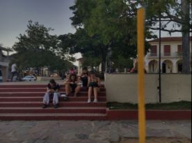 Public park where wifi is attainable..so ppl on their phones r there.