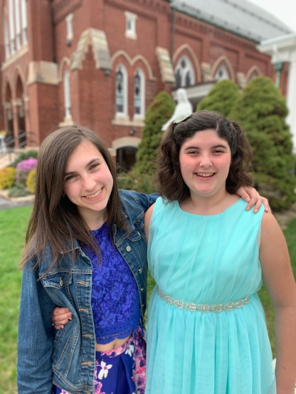 Our girls outside of church