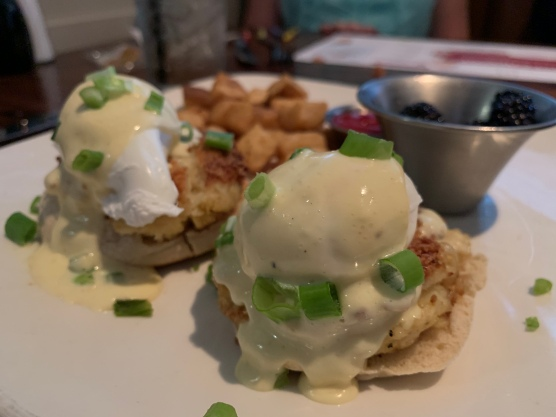 Eggs Benedict over crab cakes