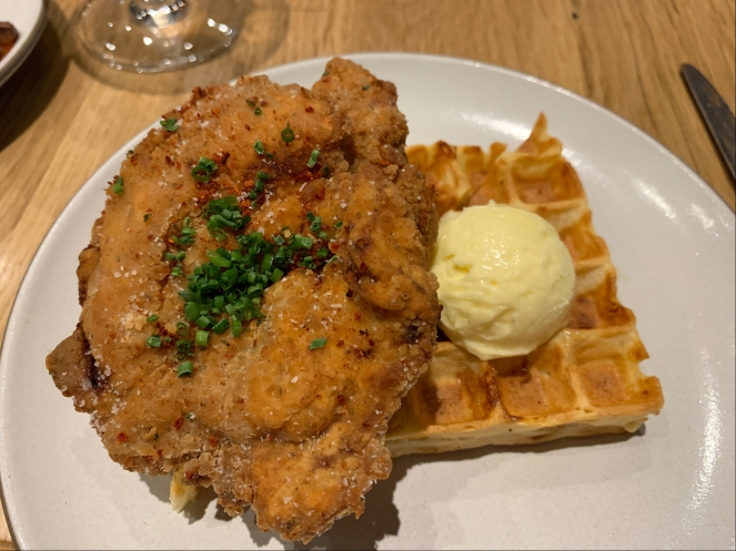 spicy chicken and cheddar waffles