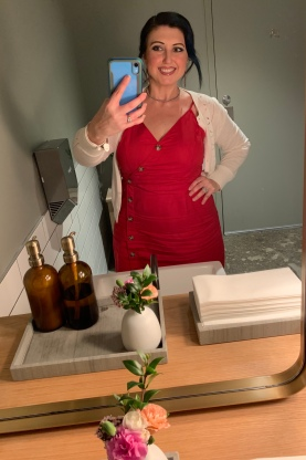 A bathroom selfie.. i loved my red dress so much