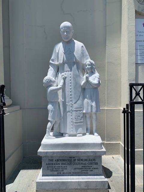 The statue of of Pope John Paul II- for the American-Italian Cultural Ctr