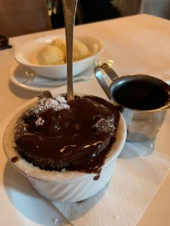 chocolate soufflé with grand marnier chocolate sauce..tdf@