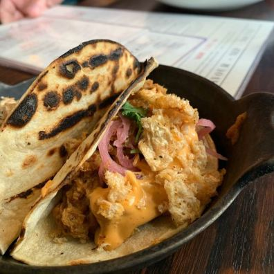 Pork tacos w cracklin'