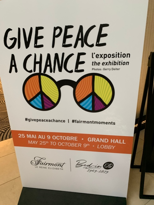 Give peace a chance exhibition in the Fairmont Hotel